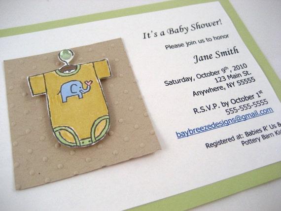 Baby Onesie Shower Invite Sample