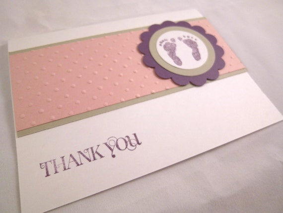 Baby Girl Themed Footprints Blank Thank You Cards Set of 10