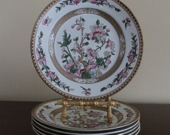 Vintage Set of Six Indian Tree Dessert Plates by S. Hancock and Sons England Circa 1920s