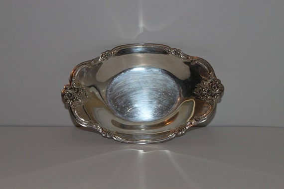 RESERVED - ON SALE - Vintage Silver Plated Scalloped Floral Dish