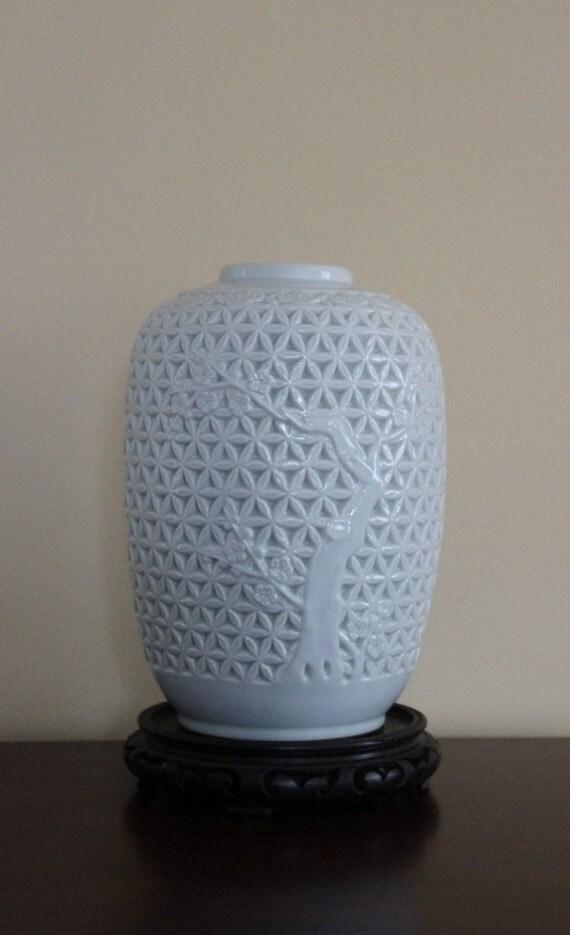 Vintage Blanc De Chine Ginger Jar Vase