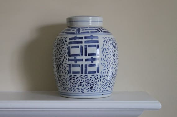 RESERVED - ON SALE - Vintage Large Chinese Asian Blue & White Ginger Jar