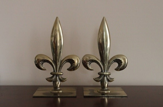 Vintage Brass Fleur De Lis French Bookends