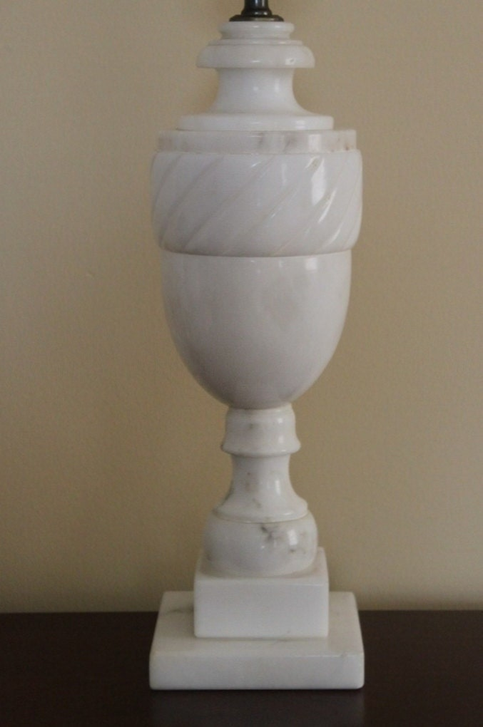 Vintage Alabaster White Marble Urn Style Table Lamp