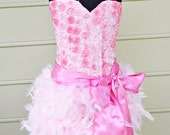 Corset top feather skirt and sash set great for birthday, party,princess,photography