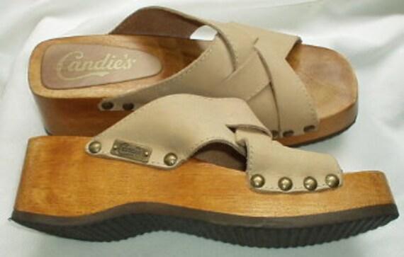 Vintage Candies Deadstock Wood Platform Logo Leather Beige Sandals Made in Brazil -Sz 8Med