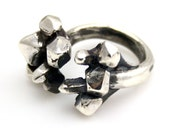 Adjustable Split Crystal Ring in Silver