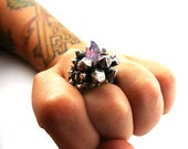 Sterling Silver Pineapple Crystal Ring with Natural Amethyst
