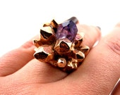 Rose Gold Pineapple Crystal Ring with Natural Amethyst