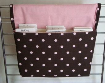 40% Off Coupon Organizer / Budget Organizer Holder - Attaches To Your Shopping Cart/ Brown with Pink Dots