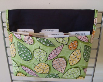 Coupon Organizer /Budget Organizer Holder/Attachers to your Shopping Cart- Lime Green  Leaves