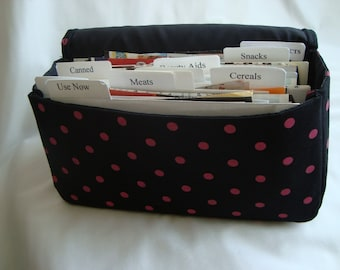 Medium Size Coupon Organizer /Budget Organizer Holder- Attaches to your Shopping Cart- Black with Pink Dots