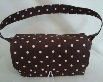 Medium Size Coupon Organizer /Budget Organizer Holder - Attaches to your Shopping Cart - Brown with Pink Dots