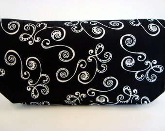 40% OFF -Coupon Organizer /Budget Organizer Holder - Attaches to Your Shopping Cart - Black with White dotted Swirls