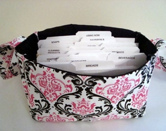 Super Large Size Fabric Coupon Organizer Holder Box- Attaches to your Shopping Cart-Madison Black/Candy Pink Damask