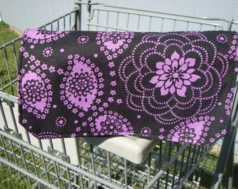 20% off Fabric Coupon Organizer /Budget Organizer Holder - Attaches to Your Shopping Cart - Black and Purple Floral