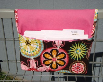 Coupon Organizer / Budget Organizer Holder- Attaches to your Shopping Cart / Michael Miller Carnival Bloom