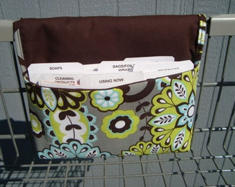 Coupon Organizer Cash Budget Organizer Holder- Attaches to your Shopping Cart / Lime Floral on Gray Back Ground