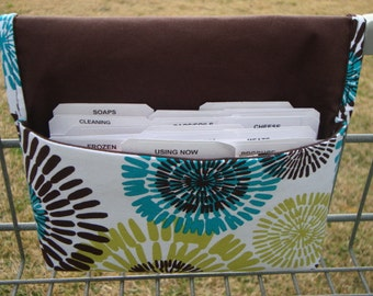 Coupon Organizer /Budget Organizer Holder  / Attaches To You Shopping Cart - Michael Miller Teal & Lime Lagoon