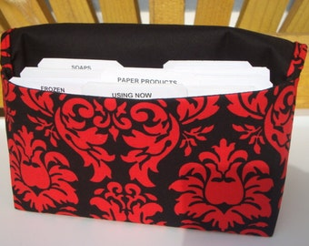 40% OFF Coupon Organizer /Budget Organizer Holder  / Attaches To You Shopping Cart - Red and Black  Damask