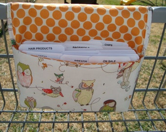 20% Off Coupon Organizer / Budget Organizer Holder- Attaches to your Shopping Cart -  Spotted Owl on Cream