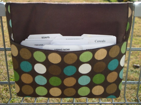 Fabric Coupon Organizer Holder /Budget Organizer Holder - Attaches to Your Shopping Cart - Brown with Dots - Decor Fabric
