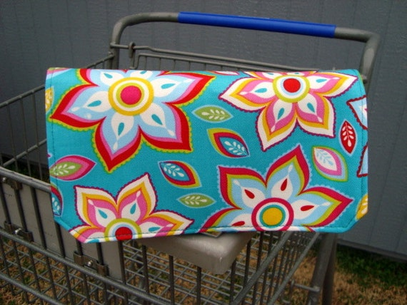 Fabric Coupon Organizer /Budget Organizer Holder - Attaches to Your Shopping Cart -Turquoise Floral