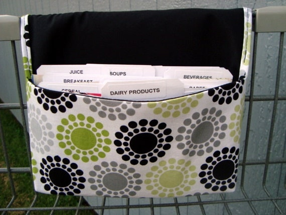 Fabric Coupon Organizer /Budget Organizer Holder - Attaches to Your Shopping Cart - Black,Lime Gray Dotted Circles
