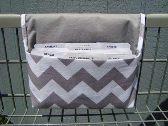 Coupon Organizer Cash Budget Organizer Holder- Attaches to your Shopping Cart - Zig Zag Chevron - Gray