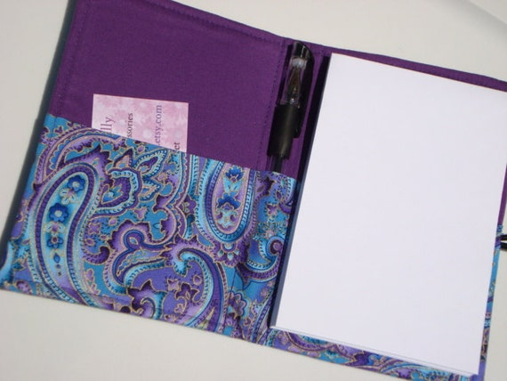 Honey Do List, Grocery List Taker/ Comes with- Note Pad and Pen-Blue And Purple Paisley