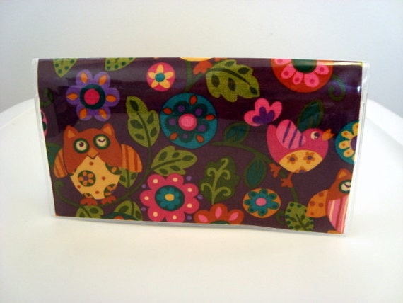Checkbook Cover , Holder - Owls and Birds in Plum