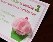 Preppy Pink Strawberry Cupcake Invitations - Custom Wording for ANY AGE