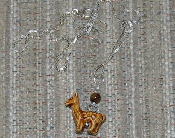 Peruvian llama bead Necklace with Swarovski crystals and Tiger Eye Bead