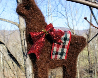 Brown Felt Llama Christmas Ornament. Needle Felted