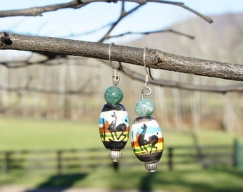 Llama earrings with hand painted ceramic Peruvian beads