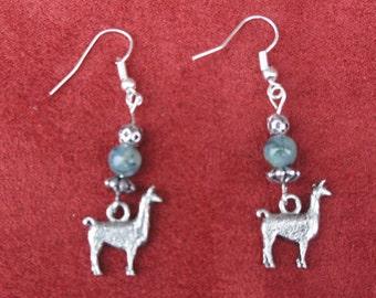 Llama Charm Earrings- Pewter Llama  with Jade Beads