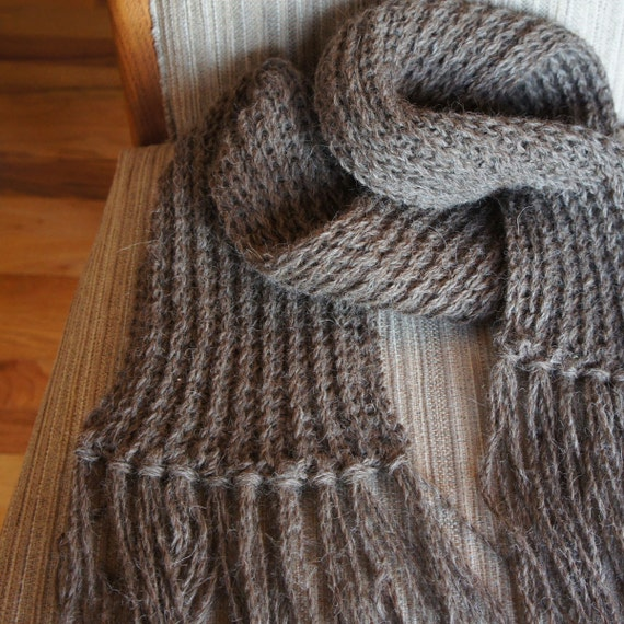 Hand knit 100% llama scarf in lovely natural brown heather color
