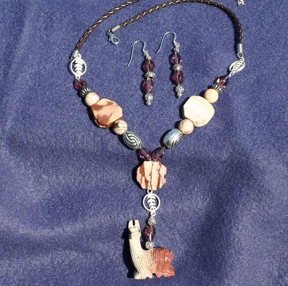 Desert Rose Stone Llama Pendant with Matching Earrings