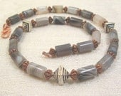 Mayan Princess, Botswana Agate, Copper and Sterling Silver Accents Necklace