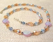 Pink and Blue Czech Glass and Crystal OOAK Summer Dance Necklace