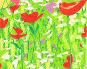 ACEO, original, colored pencil, drawing, green, red, field, flowers, spring, summer, abundance