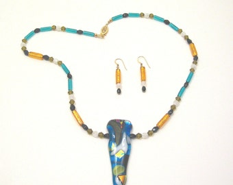Fused Glass and Venetian Glass, Party Dance, Necklace, one of a kind, original design