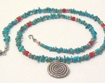 Turquoise and Coral, Southwest Mystery, Necklace, one of a kind, original design