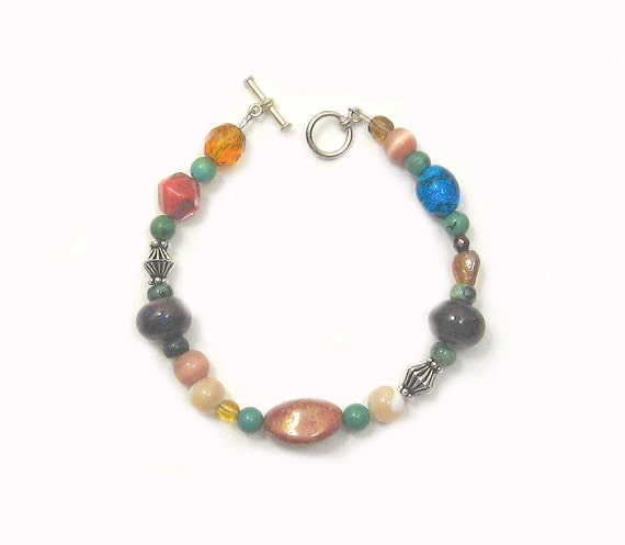 Mother of Pearl, Lampwork and Mixed Beads. Cornucopia Bracelet OOAK