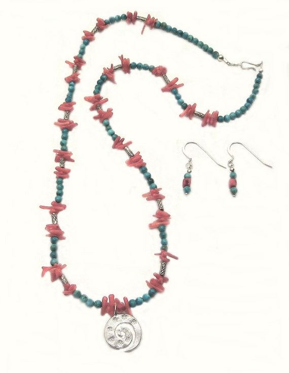 Turquoise and Coral, Coral Reef Necklace, one of a kind