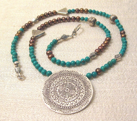Pearl, Turquoise and Mythic Hill Tribe Pendant Primal Garden Necklace OOAK
