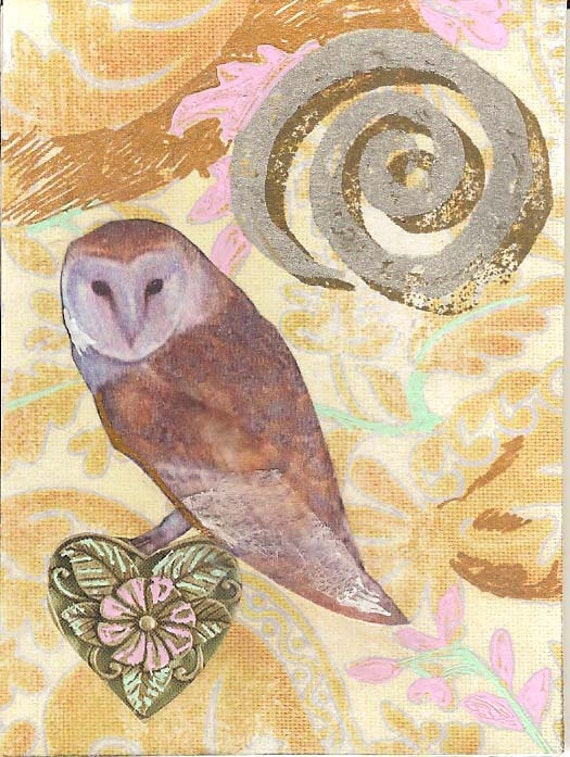 Owl, The Wise Heart, collage, spring, spiral, primitive, heart, flower, fantasy, 7 Card Draw