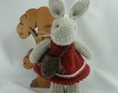 knitted bunny, bunny with a basket, rabbit, bunny softie, amigurumi bunny