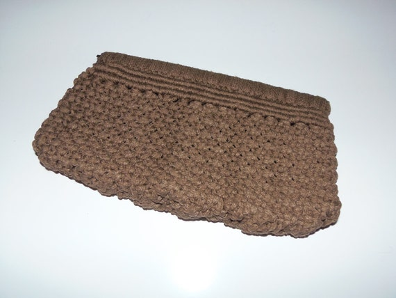 Vintage Macrame Clutch Hinged Purse Chocolate Brown