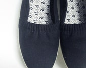 Vintage 1980s CANVAS Flats // 80s COTTON Ballet Shoes // 7 Half 8 Black Ebony 5 6 38 INDIE Hipster Classic Boating